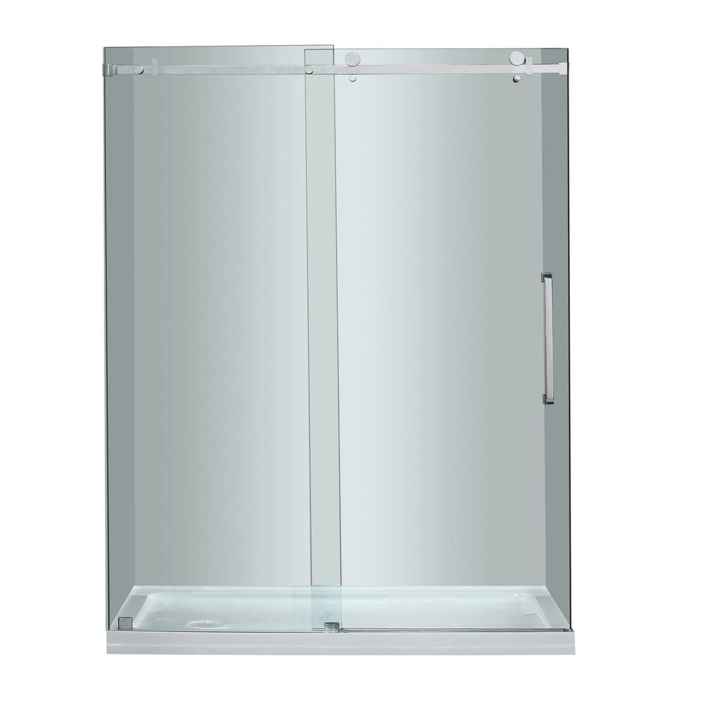 Aston Moselle 60-inch x 77.50-inch Frameless Rectangular Sliding Clear Shower Door with Chrome Hardware