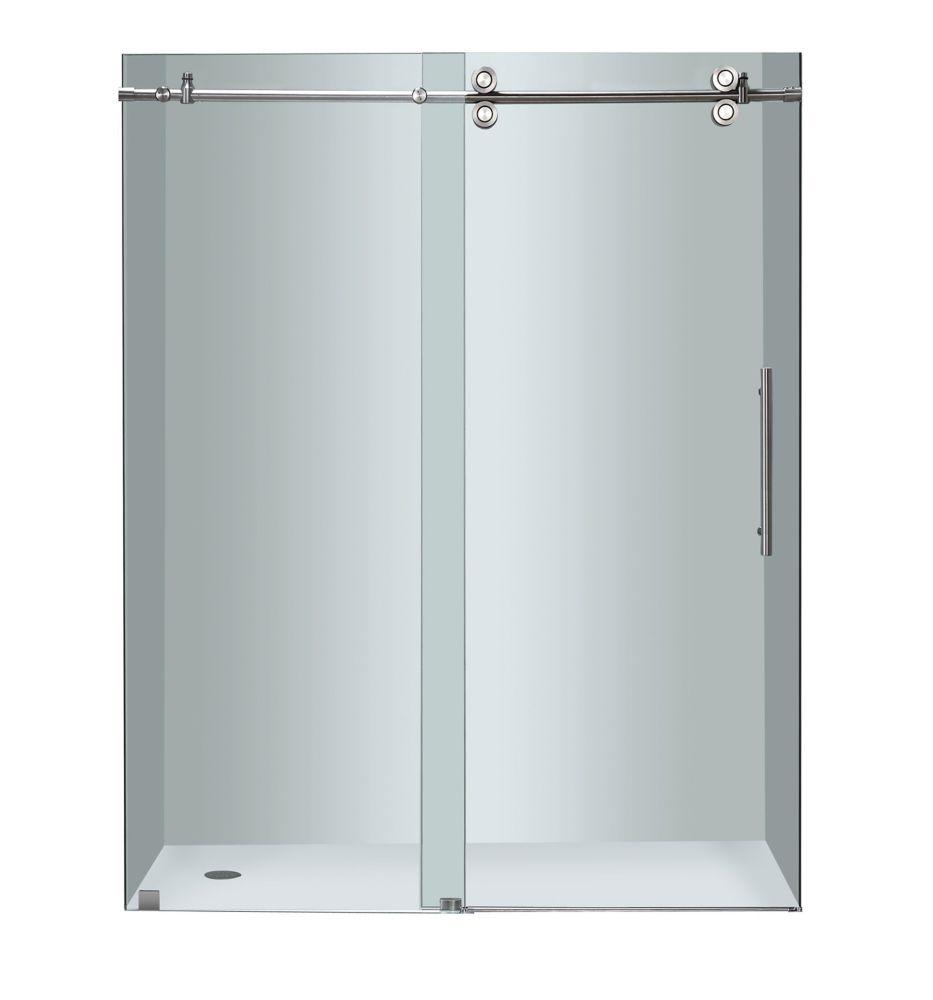Aston 60 Inch X 75 Inch Frameless Sliding Shower Door In Chrome The