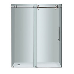 Aston Langham 60-inch x 75-inch Frameless Sliding Shower Door in Clear Glass with Chrome Hardware