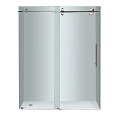 Langham 60-inch x 75-inch Frameless Sliding Shower Door in Clear Glass with Chrome Hardware