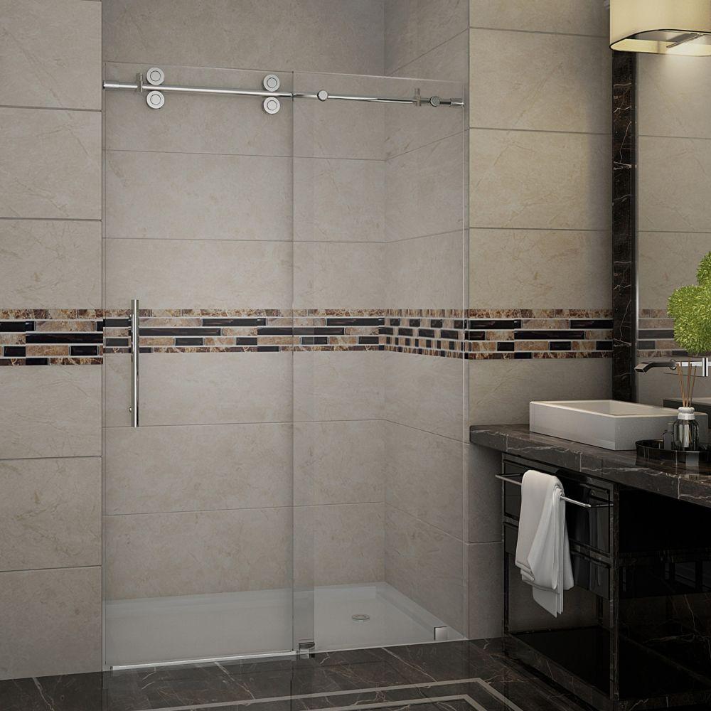 48 po x 75 po sans cadre coulissant porte de douche en acier inoxydable