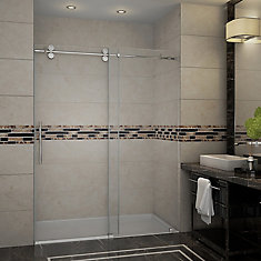 Langham 60-inch x 75-inch Frameless Sliding Shower Door in Stainless Steel