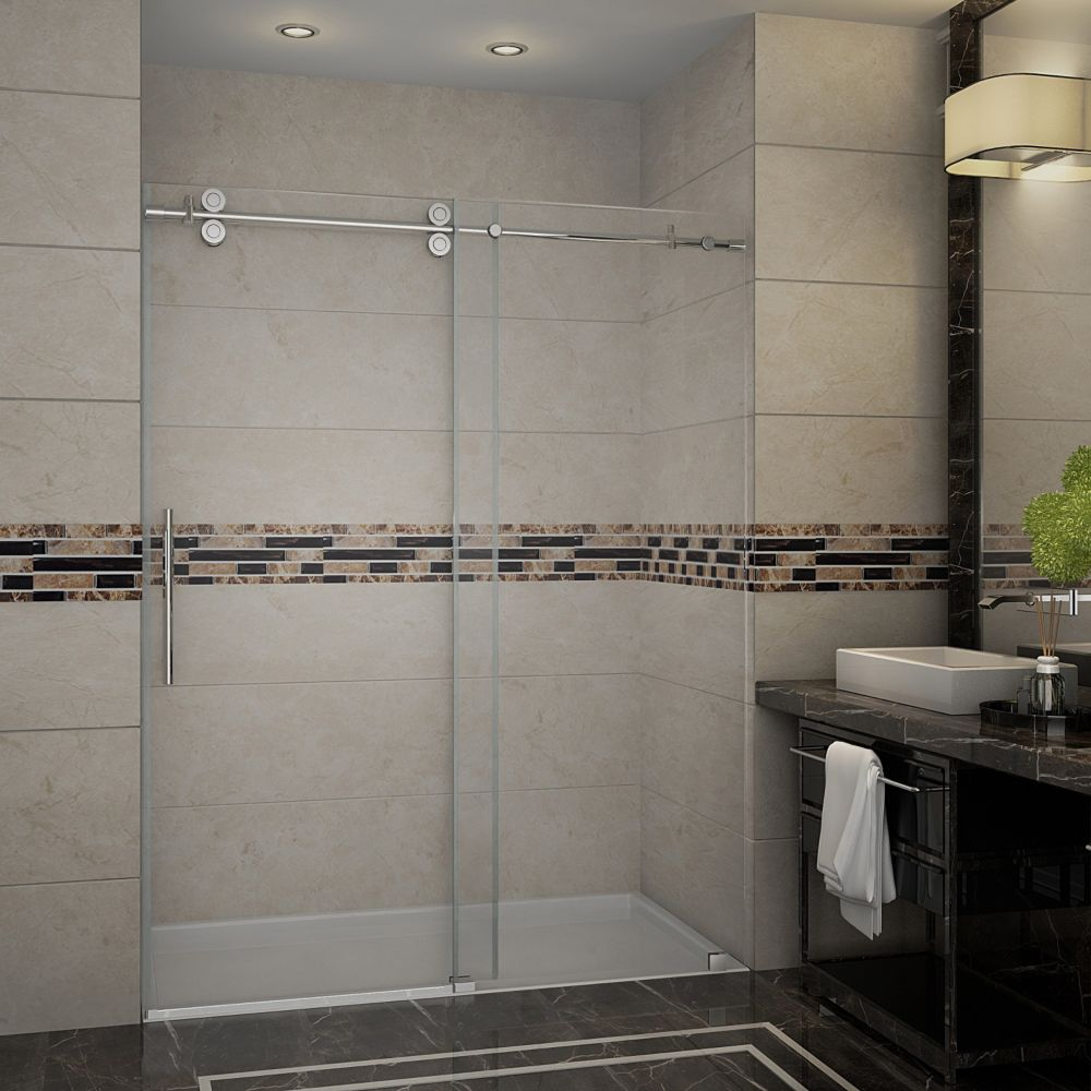 Aston Langham 60-inch x 75-inch Frameless Sliding Shower Door in Stainless Steel