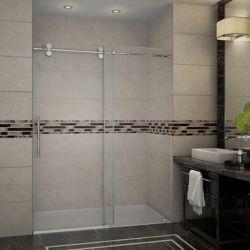 Aston Langham 60-inch x 75-inch Frameless Sliding Shower Door in Stainless Steel