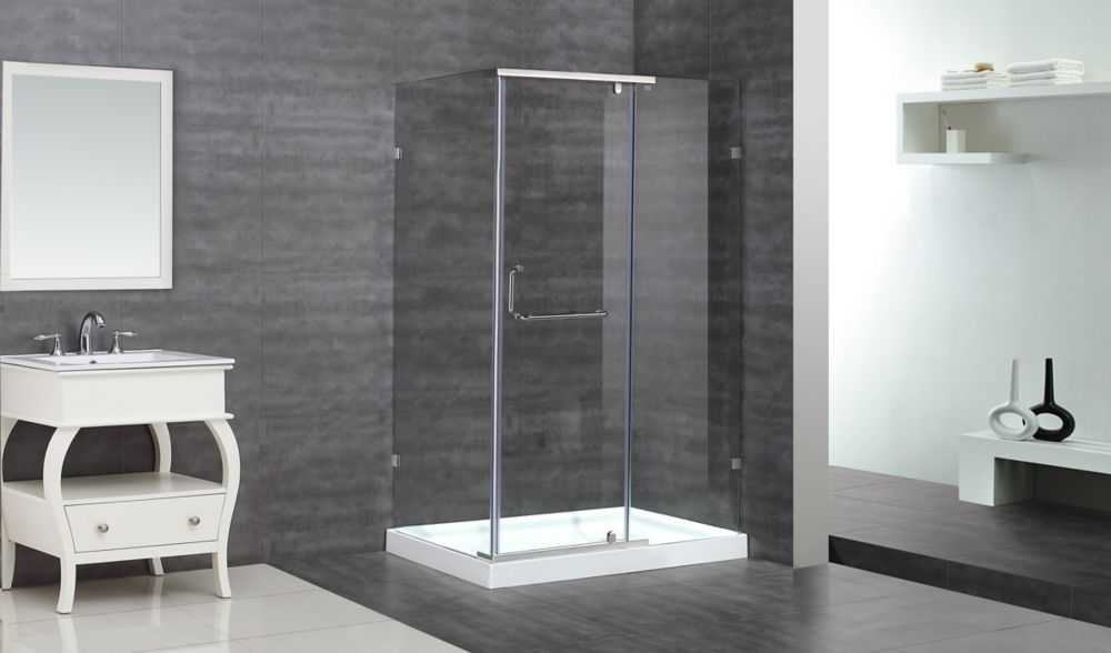 Aston 48-Inch  x 35-Inch  x 77 1/2-Inch  Semi-Frameless Shower Stall in Chrome