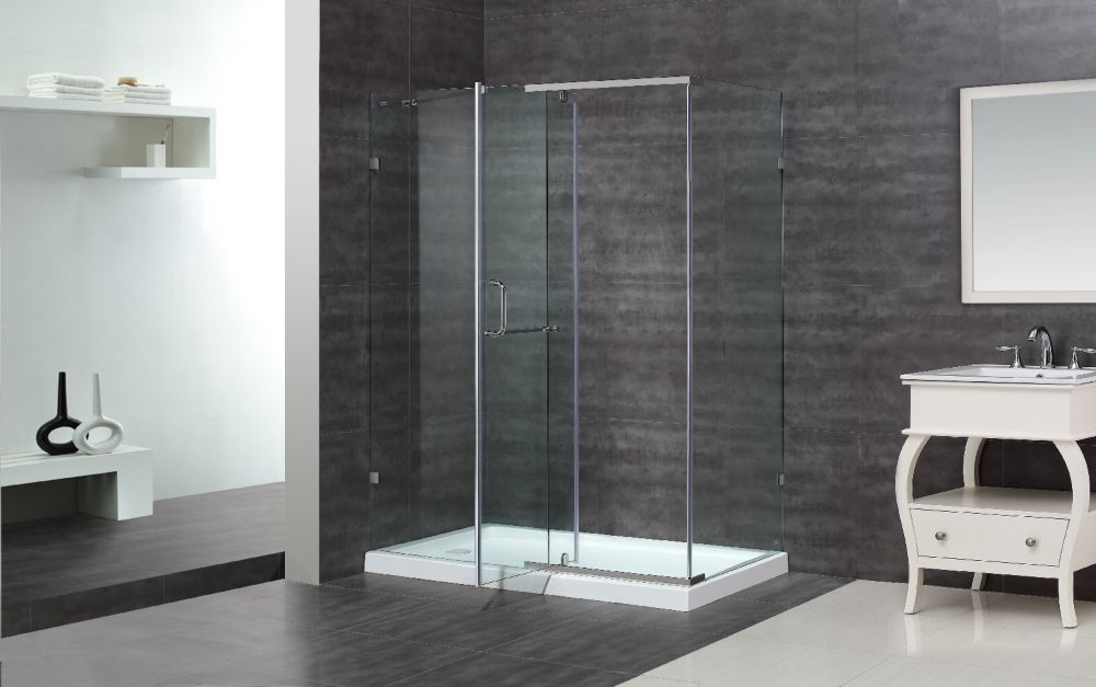 60-Inch  x 35-Inch  x 77 1/2-Inch  Semi-Frameless Shower Stall in Chrome