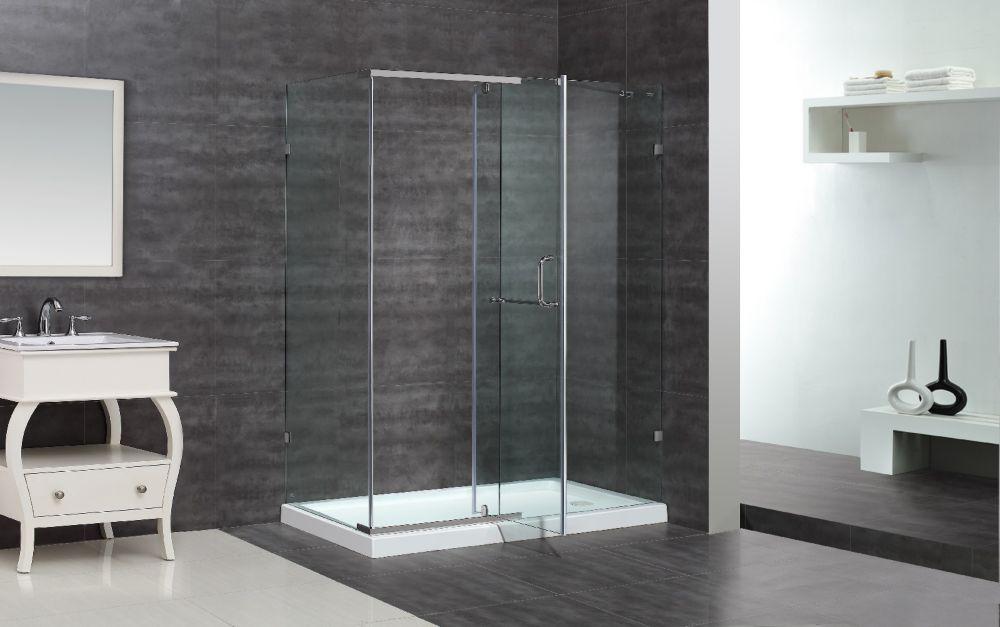 60 po x 35 po cabine de douche semi-sans cadre en Chrome avec Base de douche driote