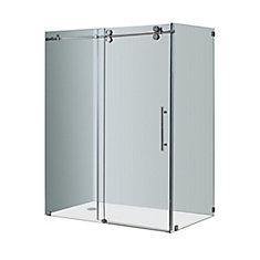 Langham 60-Inch x 35-Inch x 75-Inch Frameless Shower Stall with Sliding Door in Chrome