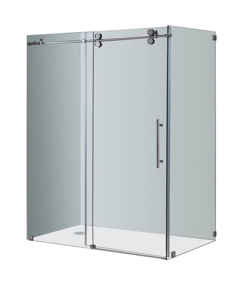 Aston Langham 60-Inch x 35-Inch x 75-Inch Frameless Shower Stall with Sliding Door in Chrome