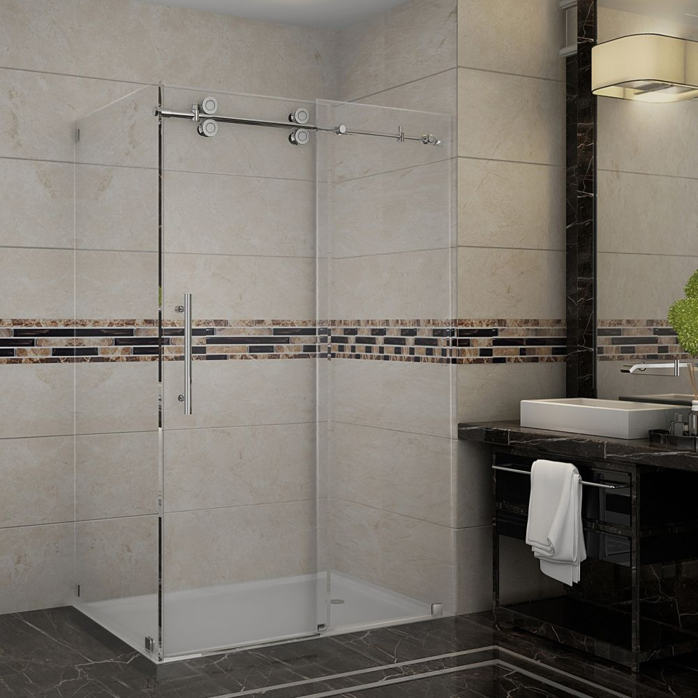48 Inch x 35 Inch Frameless Sliding Shower Enclosure in Stainless Steel SEN979-SS-48-10 Canada Discount