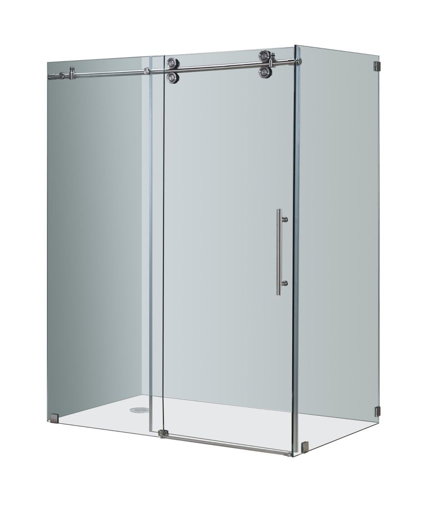 Aston Langham 60-Inch  x 35-Inch  x 75-Inch  Frameless Shower Stall with Sliding Door in Stainless Steel