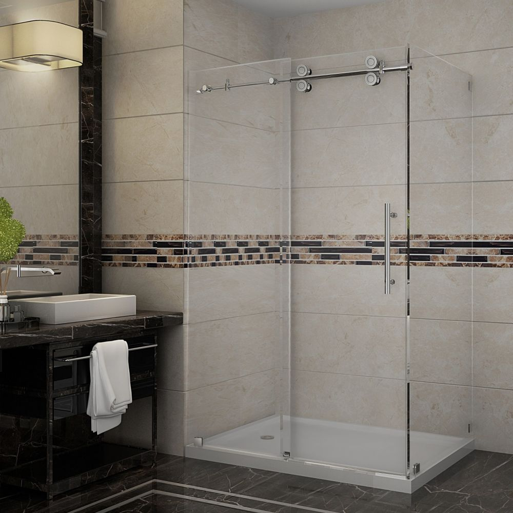 Aston Langham 48-Inch  x 35-Inch  Frameless Shower Stall with Sliding Door in Chrome