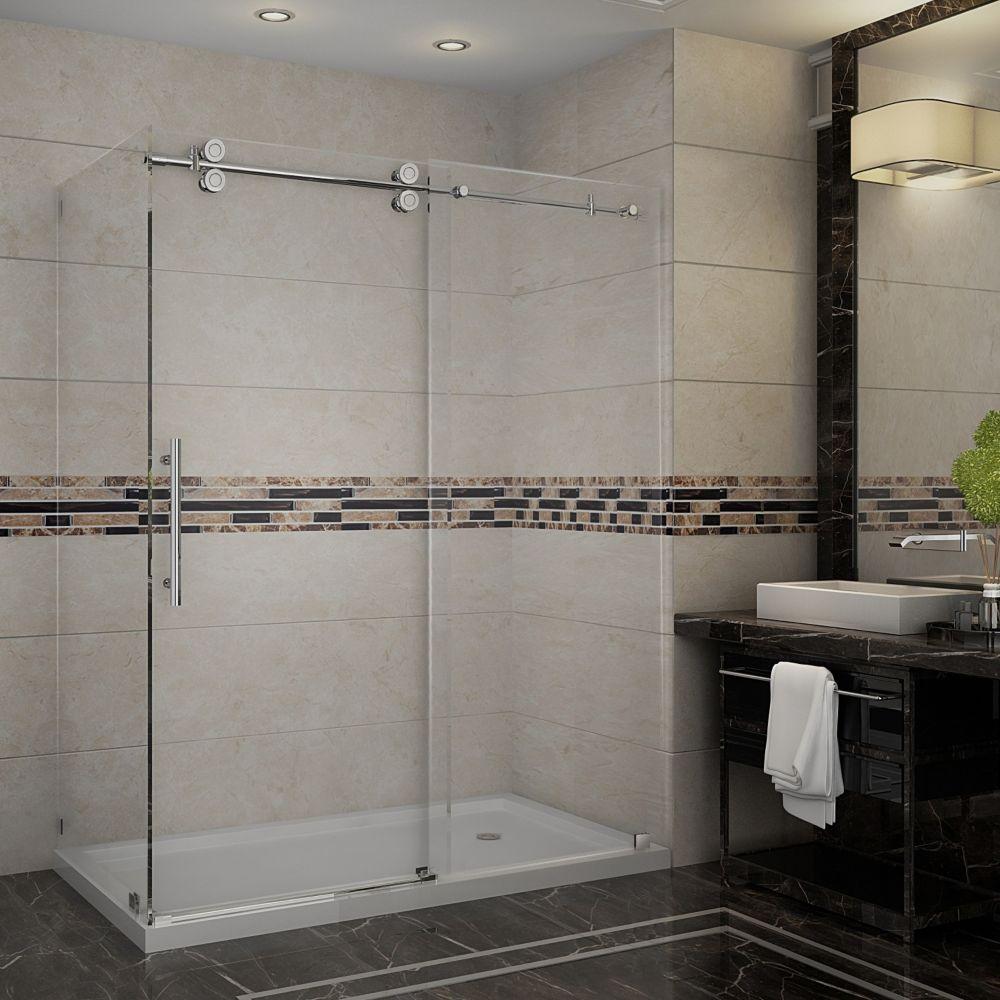 Aston Langham 60-Inch  x 35-Inch  x 77 1/2-Inch  Frameless Shower Stall with Sliding Door in Chrome