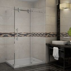 Aston Langham 48-Inch  x 35-Inch  x 77 1/2-Inch  Frameless Shower Stall with Sliding Door in Stainless Steel
