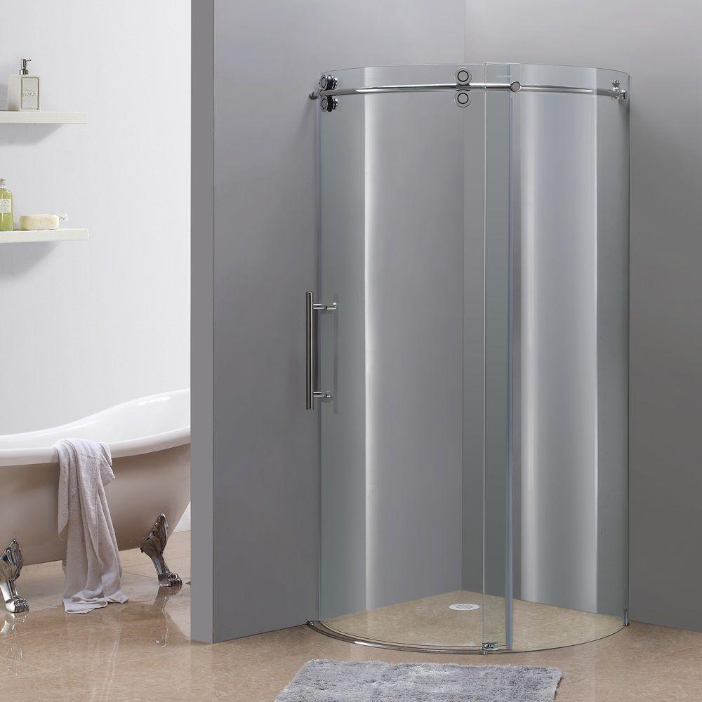 36 po x 36 po boîtier de douche ronde sans cadre en chrome avec ouverture gauche