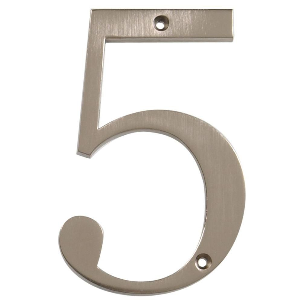 4 Inch Brushed Nickel House Number 5