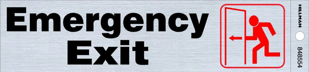 2 X 8 Sign - Emergency Exit