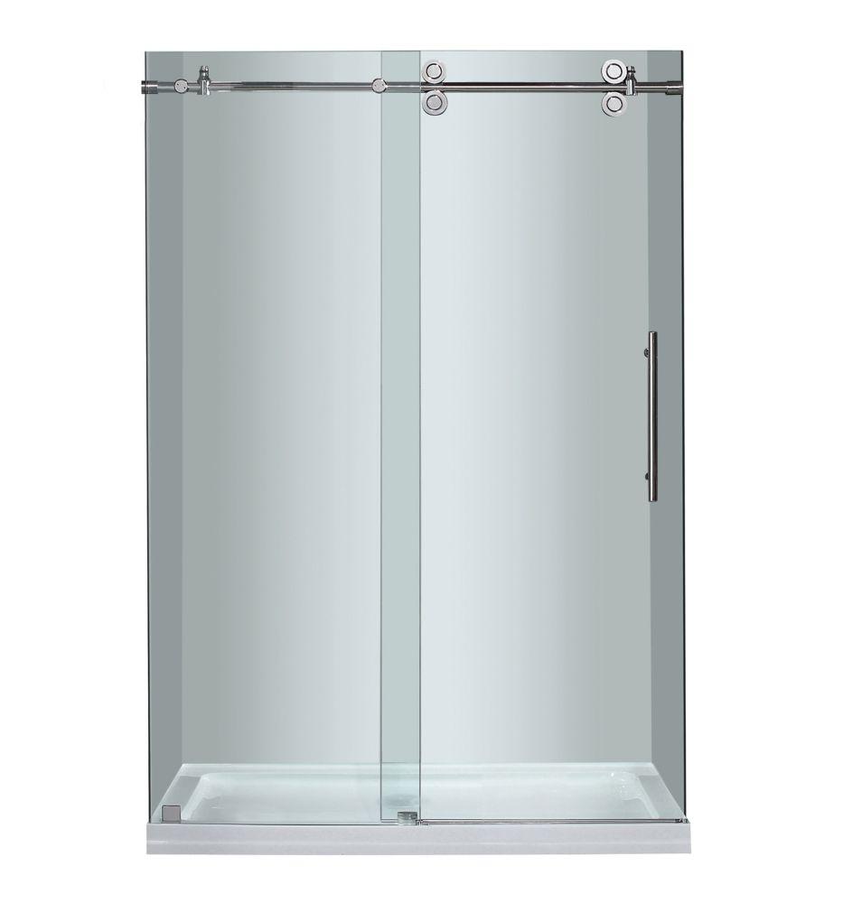 48 po x 77.5 po sans cadre coulissant porte de douche en Chrome avec Base Centre