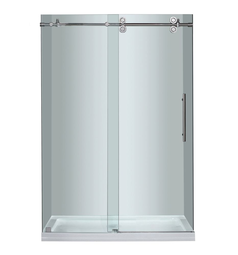 Aston 48-inch x 77.50-inch Frameless Rectangular Sliding Shower Door in Clear Glass with Chrome Hardware