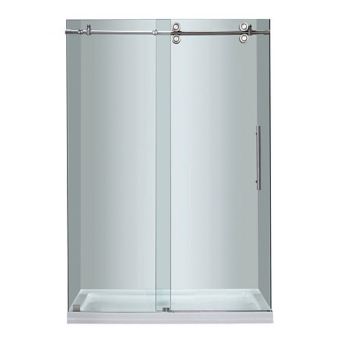 Aston 48 Inch x 77.5 Inch Frameless Sliding Shower Door with Center Base