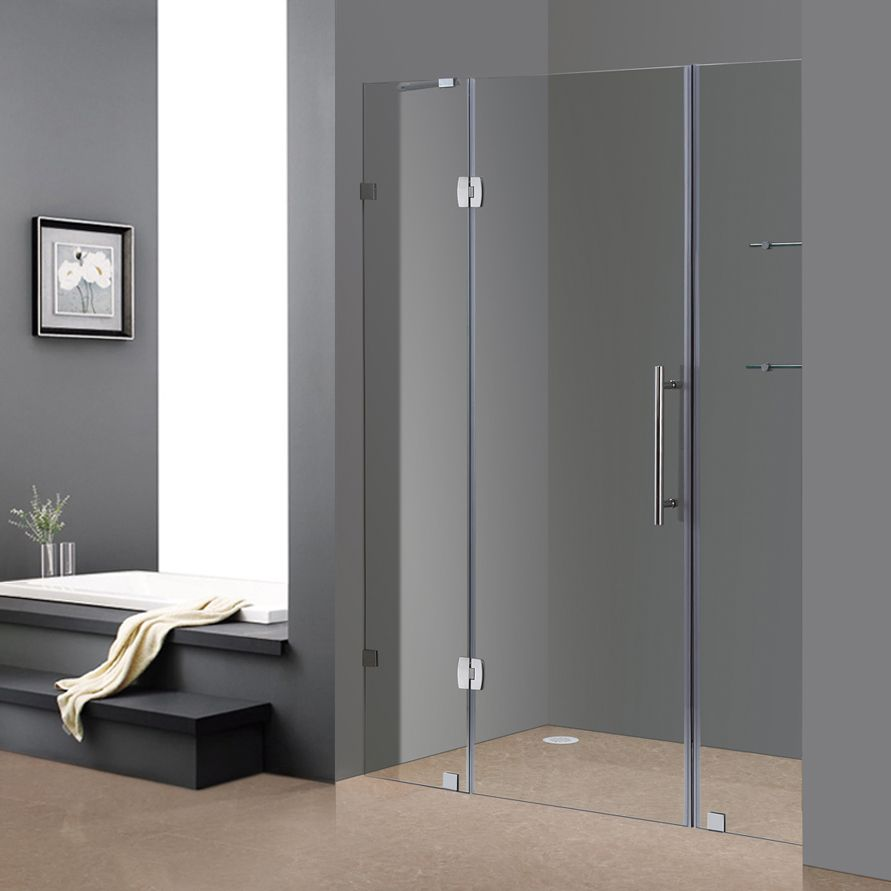Soleil 60 In x 75 In Completely Frameless Hinge Shower Door w. Glass Shelves in Chrome