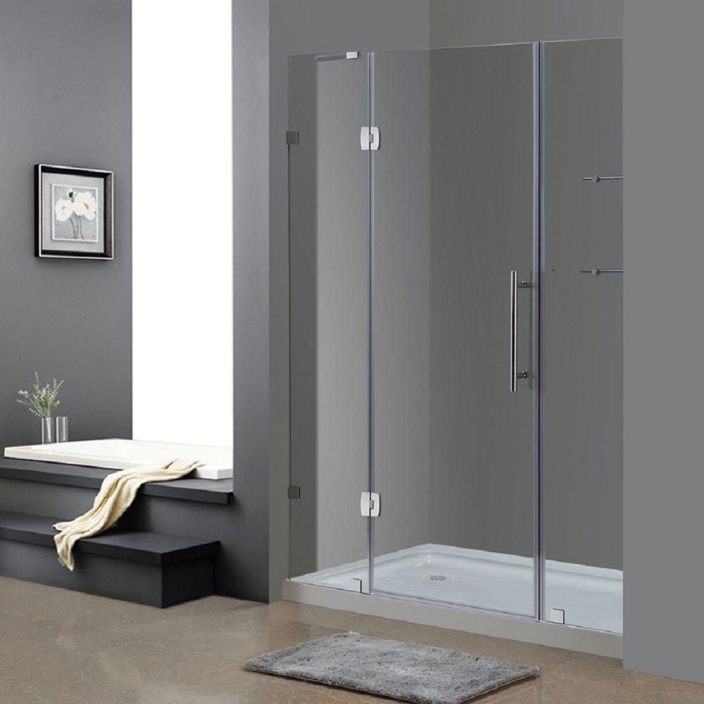 Aston 60 Inch x 77.5 Inch Frameless Hinge Shower Door with Glass Shelves with Left Base