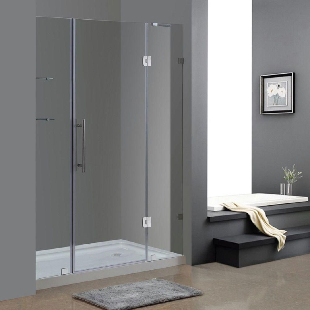 Soleil 60 In x 77.5 In Completely Frameless Hinge Shower Door w. Glass Shelves in Chrome & Right ...
