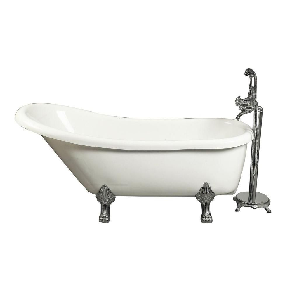 Aston 5 Feet 6-Inch Acrylic Clawfoot Slipper Bathtub with Floor-Mount Faucet in White