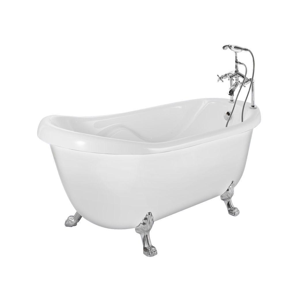 Aston 5 Feet 6-Inch Acrylic Clawfoot Slipper Bathtub with Tub-Mount Faucet in White
