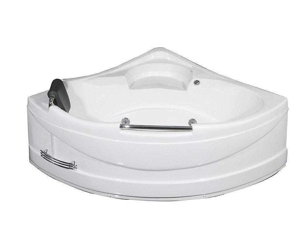 4 Feet 10-Inch Corner Whirlpool Bathtub in White