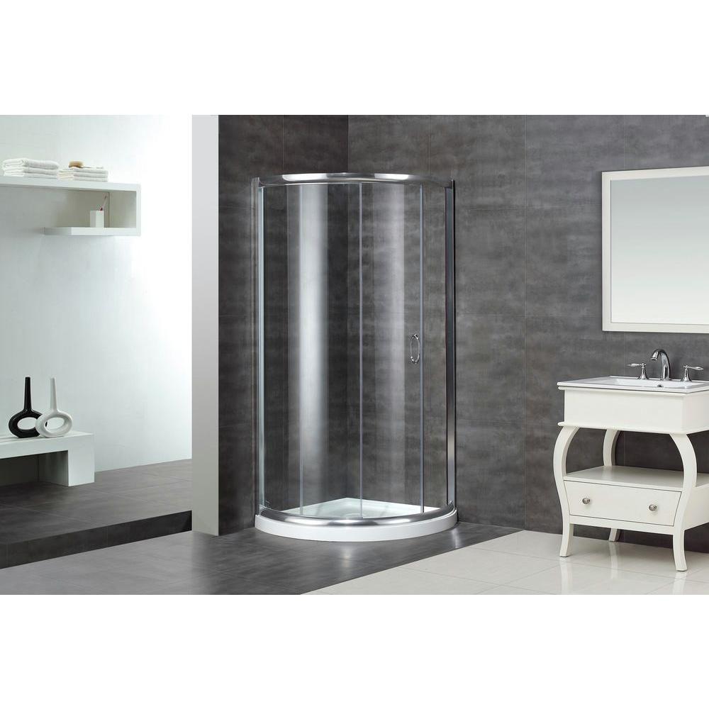 40 po x 40 po rond cabine de douche en chrome avec Base