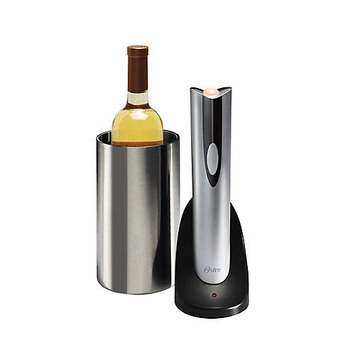 Tire-bouchon rechargeable et refroidisseur de bouteille Oster (argent)