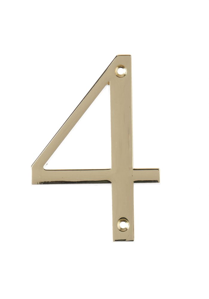 4 Inch Brass House Number 4