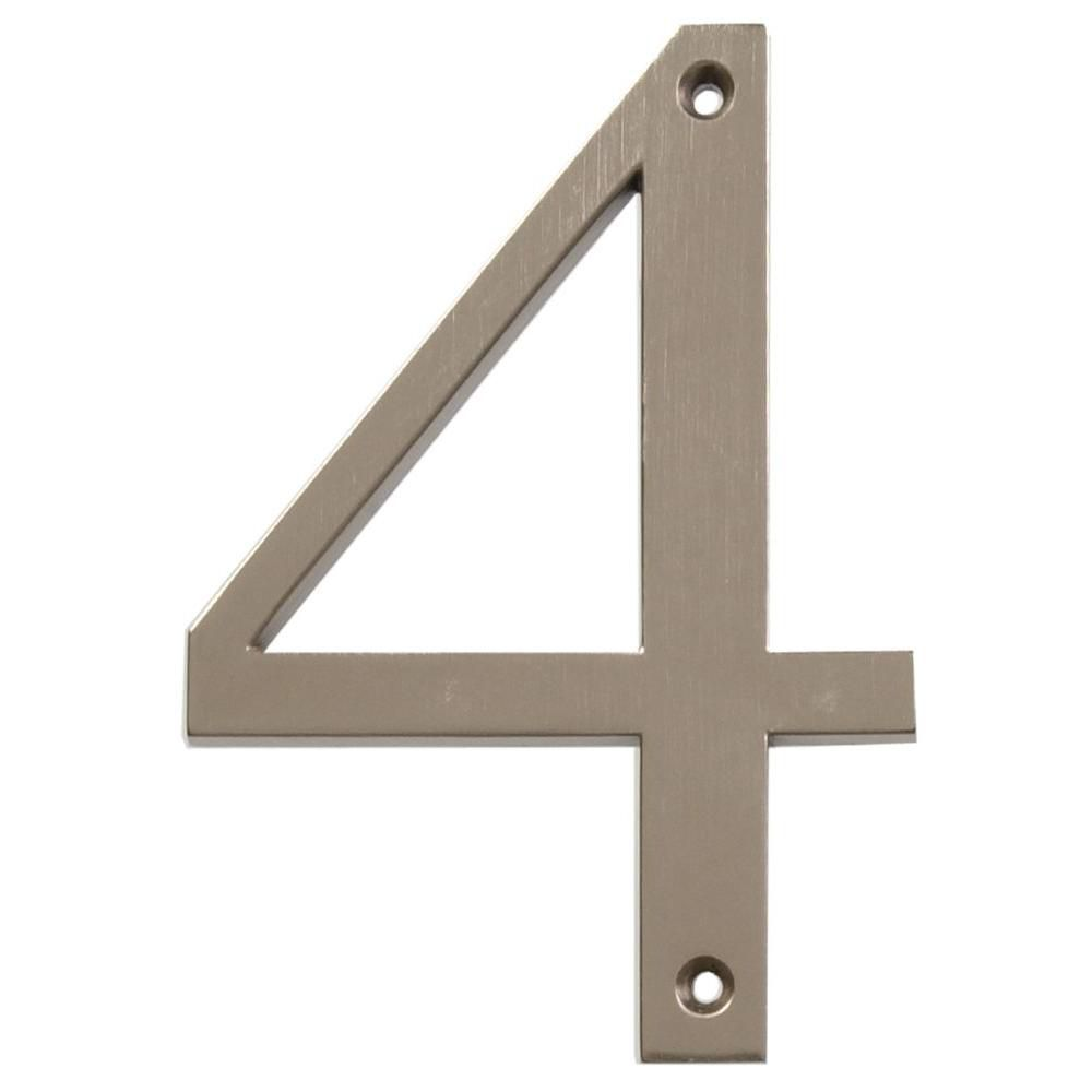 4 Inch Brushed Nickel House Number 4