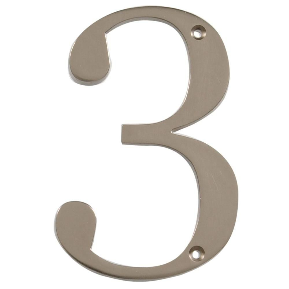 4 Inch Brushed Nickel House Number 3