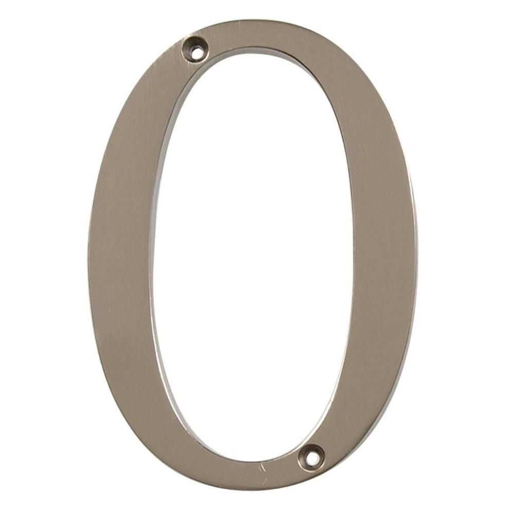 4 Inch Brushed Nickel House Number 0