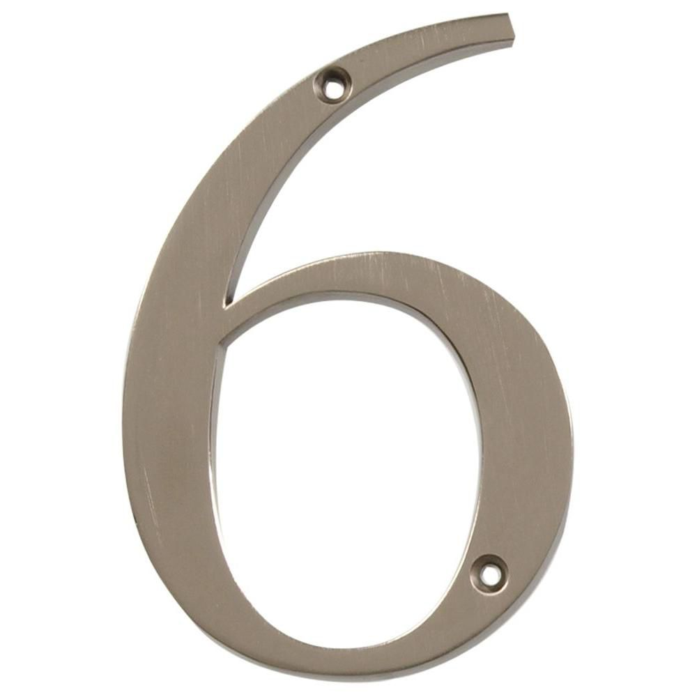 4 Inch Brushed Nickel House Number 6