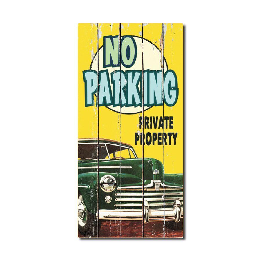 Affiche Style Rustique En Bois  - No Parking