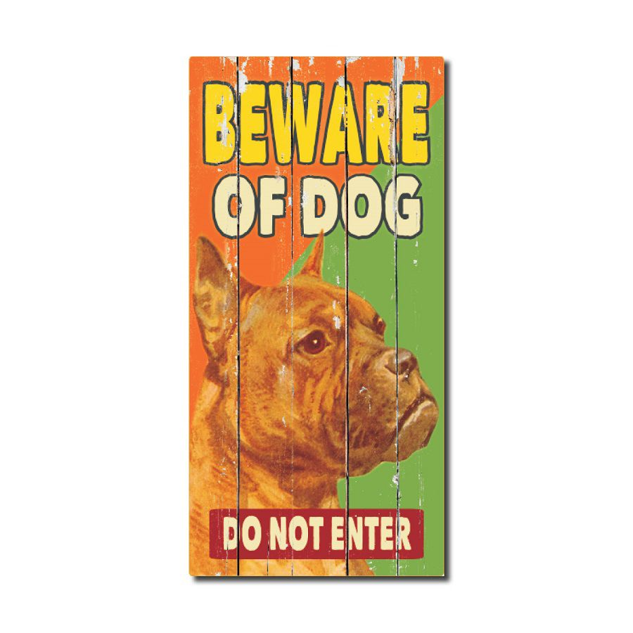 Rustic Wood Sign - Beware Of Dog