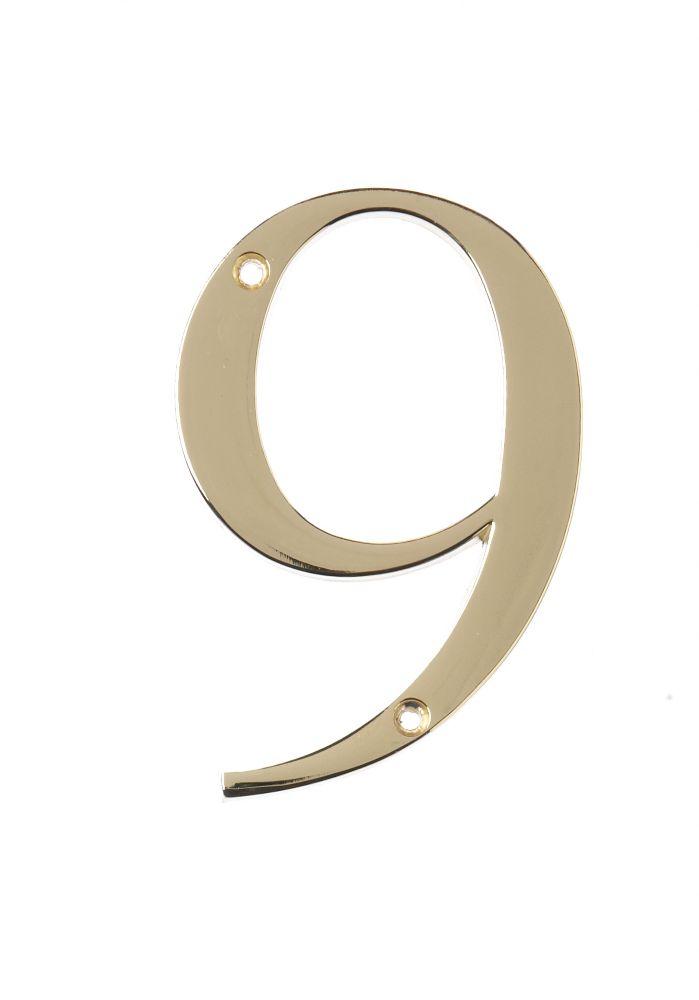 Hillman 4 Inch Brass House Number 9