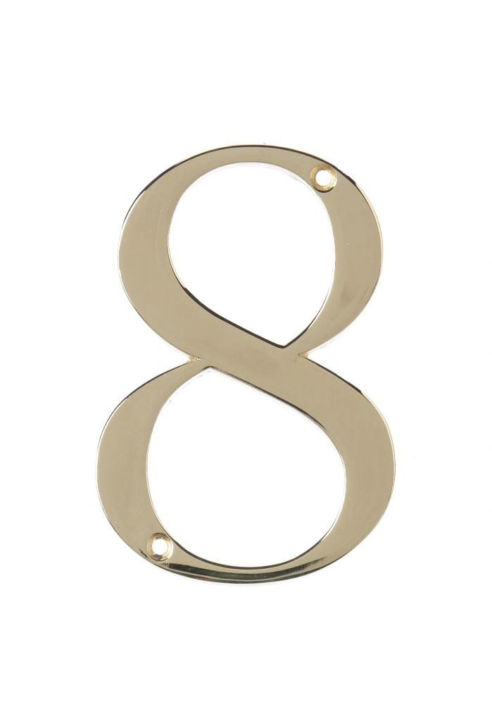 4 Inch Brass House Number 8