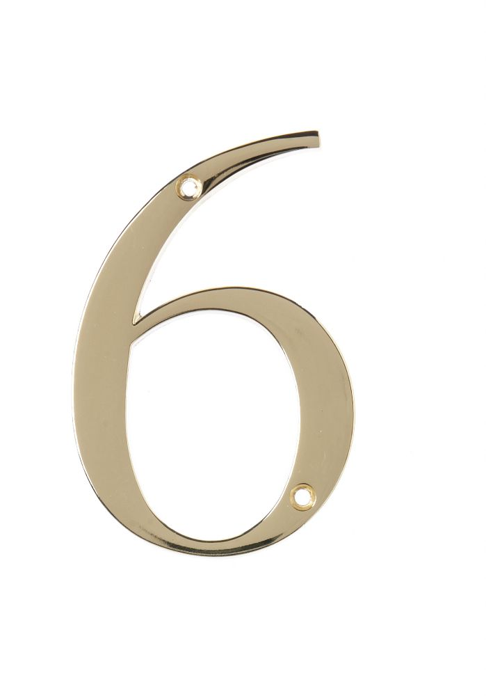4 Inch Brass House Number 6