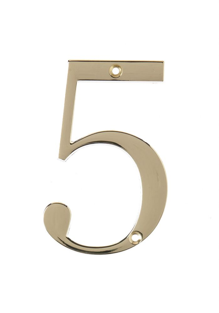 4 Inch Brass House Number 5