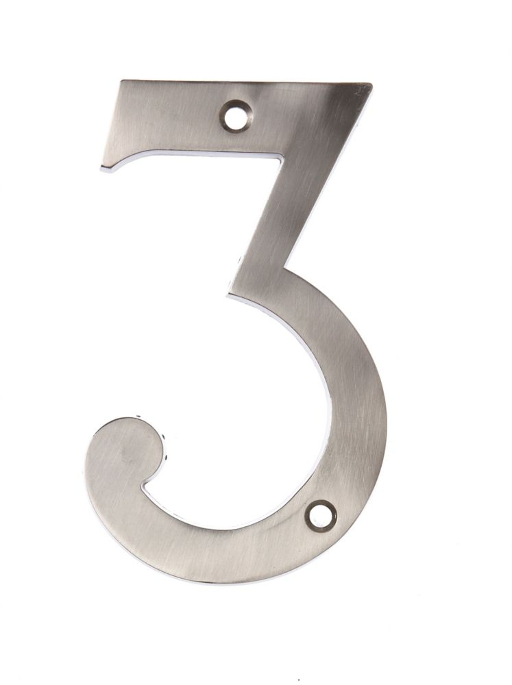 6 Inch Satin Nickel House Number 3