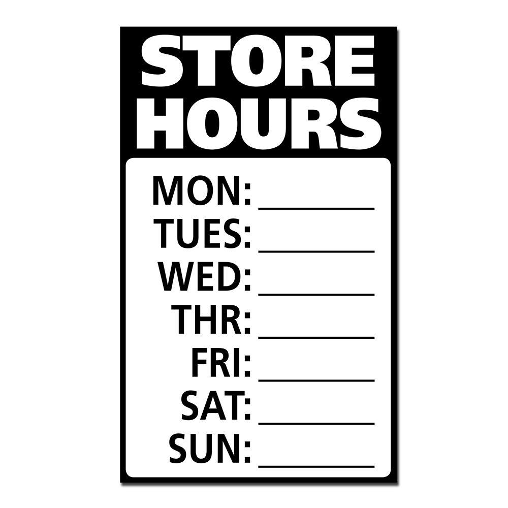 Hillman 12 X 19 Min Jumbo Sign - Store Hours