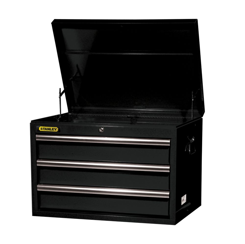27 Inch 3 drawer Top Chest, Black