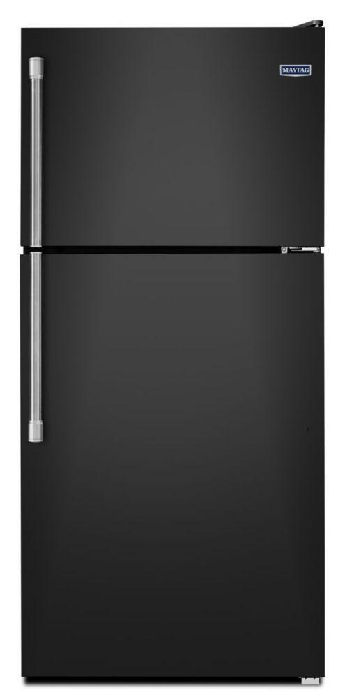 Réfrigérateur à congélateur supérieur et porte plate de 18 pi cu, noir - MRT318FZDE
