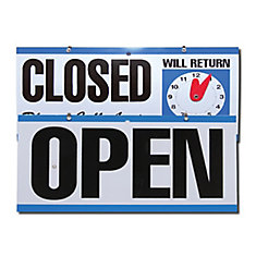 Open/Close Sign With Clock