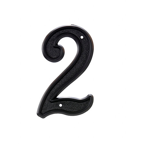 6 Inch Black Plastic House Number 2