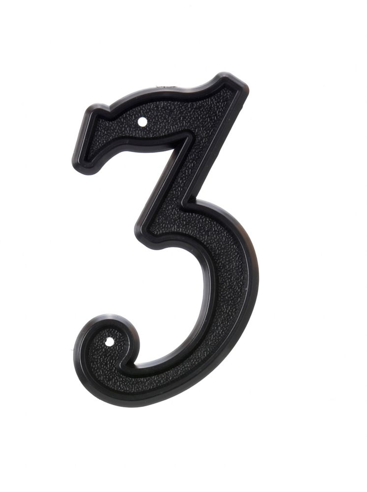 6 Inch Black Plastic House Number 3